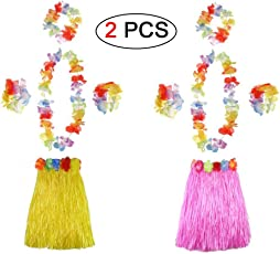 Ungfu Mall 2 Sets Hawaiian Hula Gras Rock Blume Armbänder Stirnband Halskette Girlande Hawaiian Leis Fancy Dress Damen für Tropical Beach Party Hen Night mit 60 cm