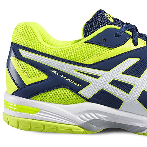 Asics Gel-Hunter 3, Chaussures de Badminton Homme Bleu (Poseidon/white/safety Yellow)