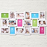 Multi Bilderrahmen Collage Bildergalerie Fotowand Wandgalerie Fotorahmen Familie Fotocollage für 18 Fotos Liebestammbaum für Hochzeit Familie Kinder, weiß
