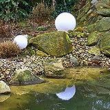 Dapo Kugelleuchte Gartenlampe 2er Set 30+40cm Marlon Außenleuchte Kugellampe mit Erdspieß, E27, Dekoleuchte