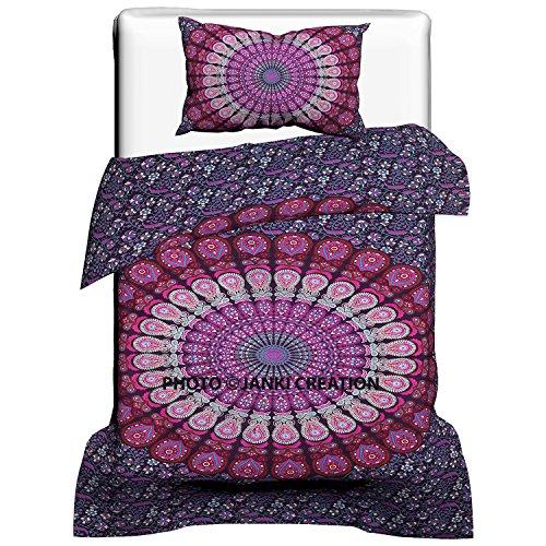 Janki Creation Pfau Mandala Bettbezug mit Kissenbezügen, Mandala, Gesteppt, Donna, Indische Decke Set, Twin Größe 53x 82mit One Kissen, (Hand Gesteppte Bettdecken)
