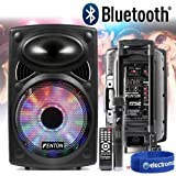 "Fenton Active Powered Bluetooth Speaker System 12"" with Lights Wireless Mic"