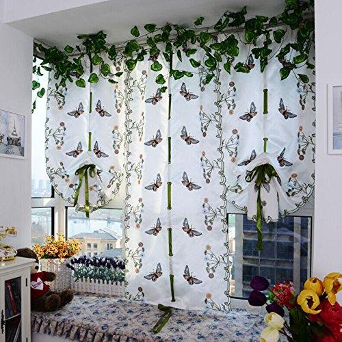 LCLrute 1 PC Haken und stab zweizweck Bestickt Schmetterling Tüll Fenster Bildschirme Tür Balkon Vorhang Sheer Schals 100 cm x 80 cm (Weiß) (Vorhänge Weiß Sheer)