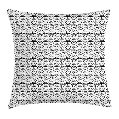 Bon Appetit Throw Pillow Cushion Cover, Monochrome Fish Chef Hat and Quote Hand Drawn Diner Food Themed Sketch, Decorative Square Accent Pillow Case, 18 X 18 Inches, Black and White -