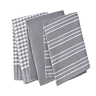 Classic Tea Towels,100% Cotton Kitchen Towels,Waffle Weave Dish Cloths,Vintage Design,3 Pack In Large Size 45x65cm (Grey)