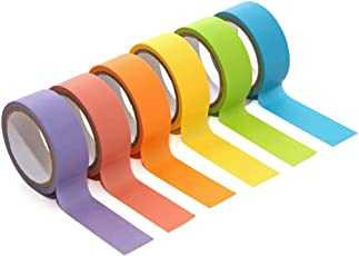 PINDIA DIY Adhesive Art and Craft Handmade Tape Roll, 20mmx5m (Multicolour)-Pack of 6