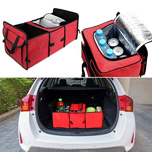 Pingxia Auto Kofferraum Tasche Klappbox Kofferraum Auto Kofferraum Organizer Faltbar Kofferraumtasche mit Fächern und Isolierfach für Camping Einkaufen Picknick (Rot)