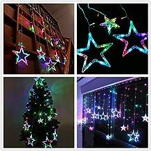 Cadena de luces LED de colores Salcar de 2*1 metros, cortina 12 estrellas de colores para navidad, decoracion de fiestas, celebraciones (RGB)