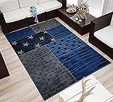Design Velours Kurzflor Teppich »Superstar« Stern Sternchen blau schwarz, Größe:160x230 cm