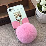 from Girlyard Mirror Case for iPhone X 5.8 inch.Girlyard Crystal Soft TPU Rubber Bumper +Bling Diamond Glitter Cute Hairy Hairball 3D Fluff Bowknot Keychain PC Makeup Mirror Back Cover with Finger Ring Holder-Pink