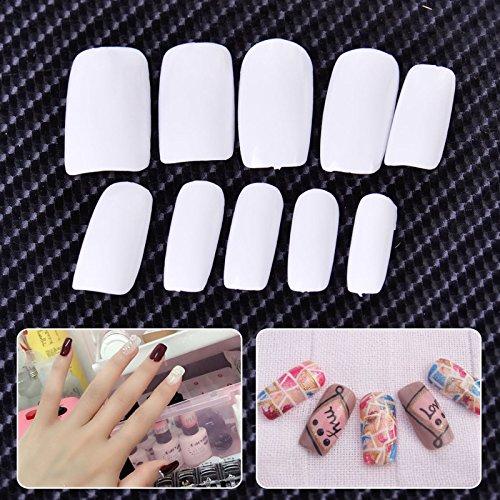 ll Cover False Nails Künstliche Nail Tipps 10Größen Acryl Fake Nägel (weiß) (Großhandel Halloween Dekoration)