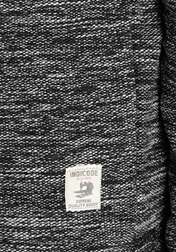 INDICODE Case Herren Kapuzenpullover Hoodie Sweatshirt aus hochwertiger Baumwollmischung Meliert Black (999)