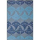 Sapana Mats Motif - Blue & Grey Plastic Floor Mat Chatai (4' X 6') Medium