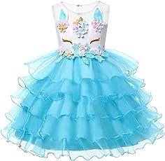 LZH Vestito da Ragazza Unicorno Cosplay Festa Vestito da Principessa di Compleanno