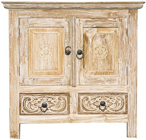 Guru-Shop Cómoda de Teca Blanca Antigua con 2 Puertas y 2 Cajones, 70x72x50 cm, Cómodas y Aparadores