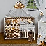 Velinda 13-tlg. Baby-Bettwäsche-Set Bettzeug Bettbezug Bettgarnitur für Babybett 70x140 (Muster: Bär_Braun)