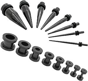 2 Sets= 1 set flesh tunnel estensore tappo plug piercing in acciaio e 1 set taper dilatatore nero 16 pezzi