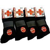 Medical 6+6=12 Pares Calcetines Hombre Negro Talla 40/46 Anti-PRESIÓN Anti-estres Anti-ácaros, pies sensibles, 100% Hilo algo