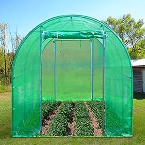 uenjoy 6m serre de jardin tente tunnel 4 arceaux cadre en acier pe plastique jardin. Black Bedroom Furniture Sets. Home Design Ideas