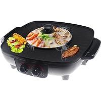 LJIE Réchaud Coréen Pot Chaud Double Pot, Pot De Cuisinière Intégré, Plaque De Cuisson Électrique