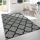 Paco Home Moderner Kurzflor Wohnzimmer Teppich Marokkanisches Design Meliert Grau Schwarz, Grösse:120x170 cm