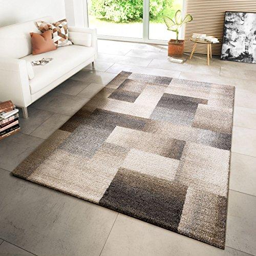 Tt home tappeto moderno per soggiorno tappeto tessuto stile moderno a quadri mélange beige crema grigio, größe:160x230 cm