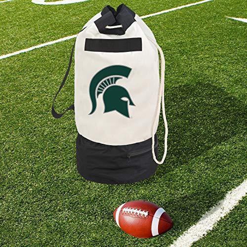 Smart Design Collegiate Robuste Duffel-Tasche mit 2 Fächern, 38,1 x 76,2 cm, Leinen, Michigan State University Team-Design, offizielles Lizenzprodukt, Weiß/Grün -