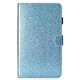 Samsung Galaxy Tab A6 7.0 Hülle, Ultra Dünn Leder Schutzhülle Glitzer Stand Cover mit Pencilhalterung und Kartenfächer für Samsung Galaxy Tab A T280/T285 17,8 cm (7 Zoll) Tablet-PC, Blau