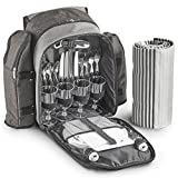 VonShef 4 Person Woven Grey Picnic Backpack With Blanket