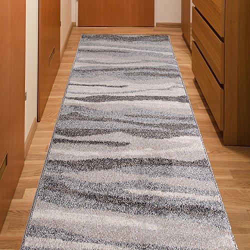 Tapiso Läufer Modern Brücke Flur Teppich - Muster Streifen Grau - Calm Kollektion 80 x 250 cm (Streifen-läufer)