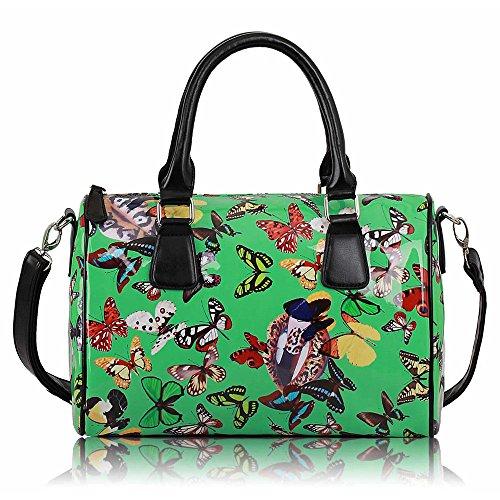 Trendstar Damen Entwerfer Schnappen Lächeln Kunstleder Promi Stil Stilvolle Tote Handtaschen (A - Grün) (Faux Grün Leder Tasche Tote)