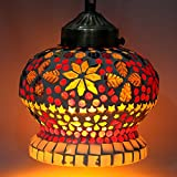 #9: EarthenMetal Handcrafted Multicoloured Turkish Crown Shaped Mosaic Glass Hanging Light