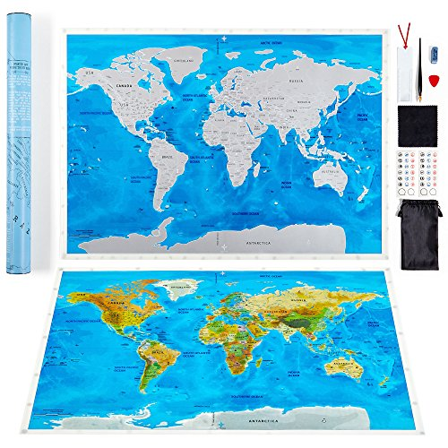 Scratch off world map by leto tg personalised travel tracker scratch off world map by leto tg personalised travel tracker poster blue white gumiabroncs Choice Image