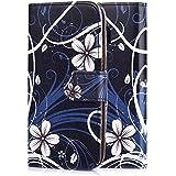 tinxi® Kunstleder Tasche für HTC One M9 Tasche Flipcase Schutzhülle Cover Schale Etui Skin Standfunktion mit Karten Slot weiß Blume in Schwarz