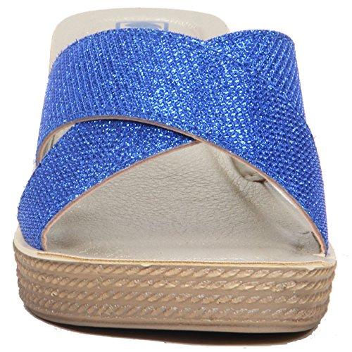 Da donna, con zeppa alta, da donna, con tacco, con scarpe Casual estivi con bretelle. Blu (blu)