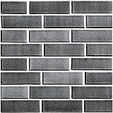 Beyond Zimmerdeko Fliesenaufkleber 3D Steinwandoptik Wandaufkleber 30 x 30 cm, 6er-Set, Selbstklebend, Brick Grau 512