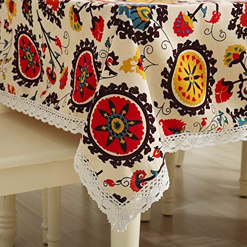 Furnily tovaglia, cotone e lino tovaglia rettangolare miscelata per cucina ristorante tavolo da pranzo scrivania vintage modello boemo (140 cm x 140 cm)