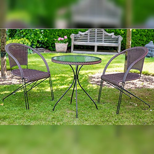 Bistro- Balkonset Gartensitzgruppe 3 tlg. mit 2 Freischwinger und 1 Tisch rund mocca braun