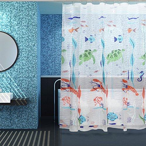 Anti-Schimmel Duschvorhang mit 12 Edelstahlring und 3 Magnet, Etersky Farbige Fische Badvorhang Halb-Transparent, EVA Wasserdicht, Anti-Bakteriell und Umweltfreundlich, 183 x 183 cm, Bunt (Duschvorhang Fische)