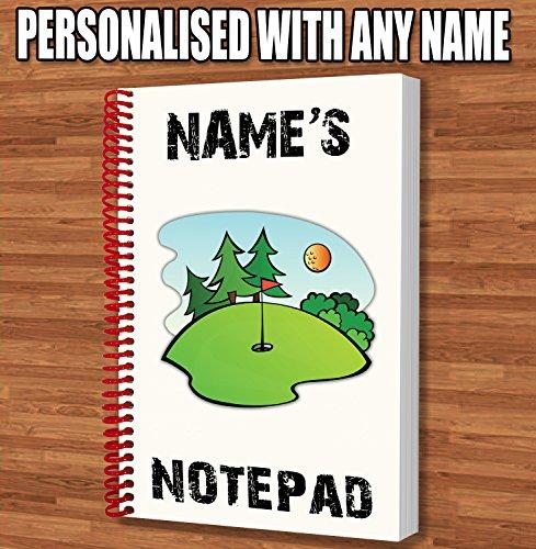 Golfplatz Putt Personalisiertes Geschenk-A5Notizblock/Notebook-Name Gedruckt Auf den Bezug Opas Caddy