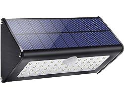 Lampe Solaire Extérieur,【Alliage d'aluminium/4 modes/1100 LM】Lumière Solaire IP65 étanche éclairage Solaire avec Détecteur de