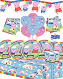 Peppa Wutz Party-Set für 8, 16, 24 oder 32 Gäste, mit Banner und Kerzen