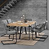 [en.casa] Esstisch Eiche Natur mit 6 Stühlen Freischwinger gepolstert grau 180x100cm Esszimmer Essgruppe Küche - 2