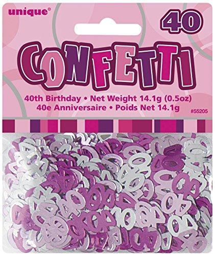 Unique Party Supplies Konfetti grau/rosa - 40 Jahre 14g (Dress Ideen Kleinkind Fancy)