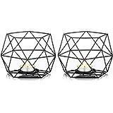 Nuptio Theelichthouders Zwarte Kandelaar, Metalen Geometrische Theelichtkaarshouder, Pijler Kandelaar Centerpieces voor Bruil