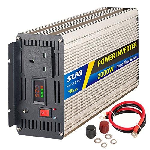 SUG 2000W (Peak 4000W) Power Inverter Pure Sine Wave DC 12V auf AC 230V 240V Konverter Back up Netzteil (UK-Stecker) für Wohnmobil-Verwendung, Haus, Auto