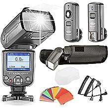 Neewer® * Colores TFT Pantalla * Alta velocidad Sincronización E-TTL de flash flash flash–Dispositivo para Canon EOS 700d/T5i 650d/T4i 600d/T3i 1100d/T3550d/T2i 500d/T1i 100d/SL1400d/XTi 450d/XSi 300d/Digital Rebel 20d 30d 60d 5d Mark III 3II 2y todos los Otras cámaras Canon, el juego incluye: (1) nw985C Flash dispositivo + (1) duro difusor de flash + (1) 3en 12.4GHz Disparador + 35STK Flash filtro de color + (1) funda de flash + (2) Cable (C1de cord + C3de cord)