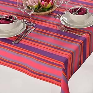 Nappe extérieur à rayures multicolore 150 x 220 cm violet