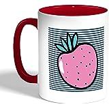 كوب سيراميك للقهوة، لون احمر، بتصميم فواكه - فراولة