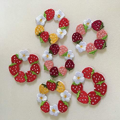 Tiny Beautiful Flower Patches für Kleidung, zum Aufbügeln, bestickte Applikationen, Frauen, Aufkleber für Taschen, Hüte, DIY Zubehör erdbeere